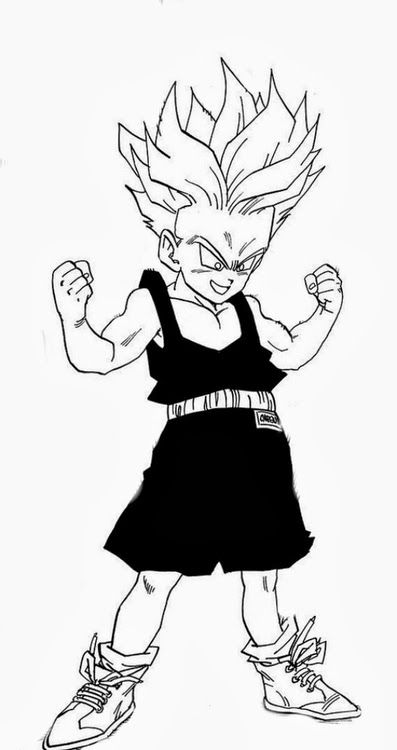 397x750 dragon ball z is the ish kid trunks in black and white