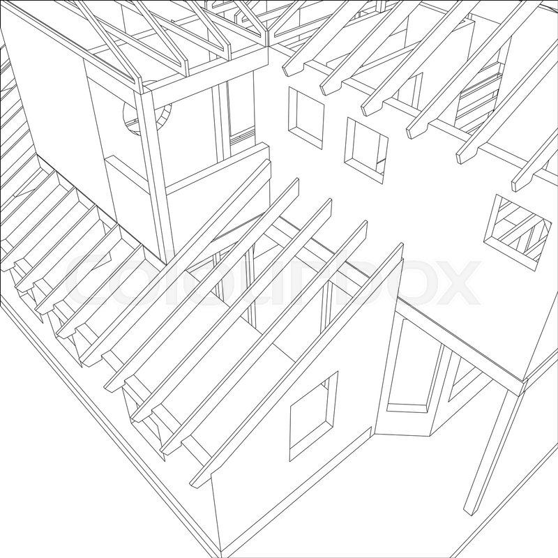 800x800 Abstract Architectural 3d Drawing Of Apartment House. Vector