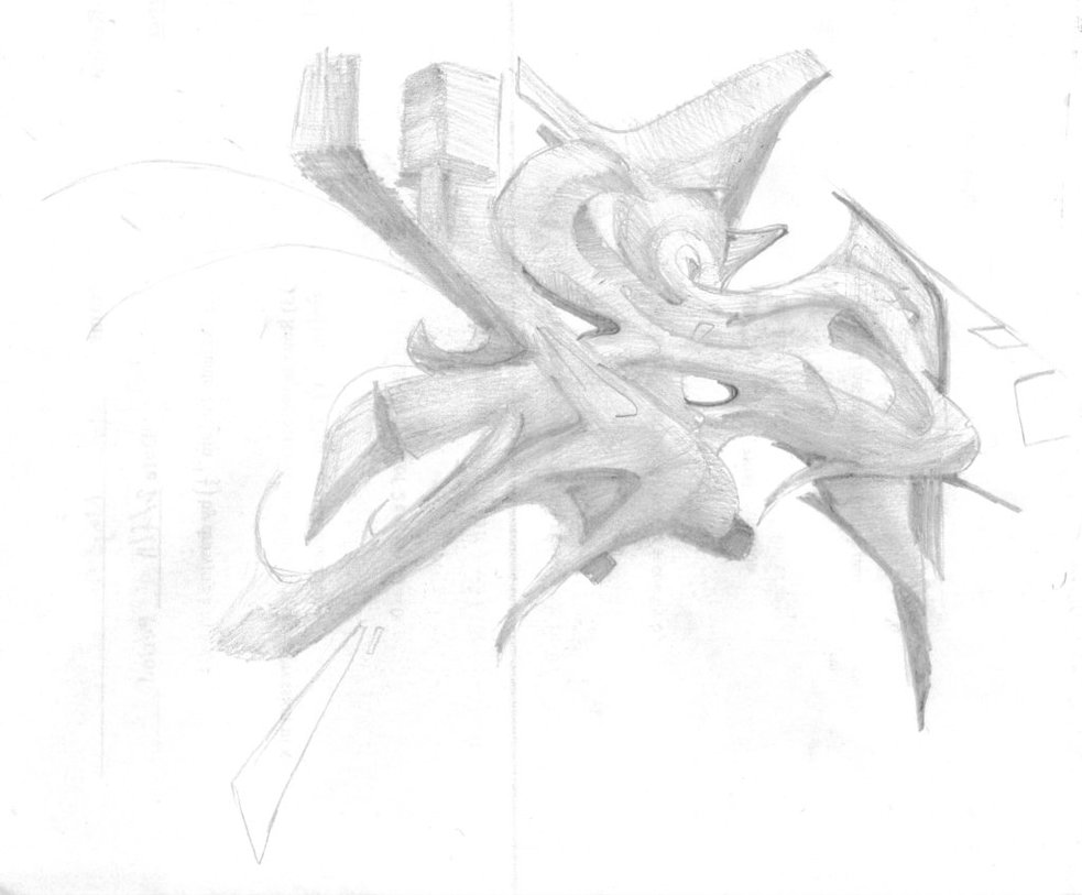 983x813 as 3D Graffiti Pencil Sketch by ZiranGuy on DeviantArt