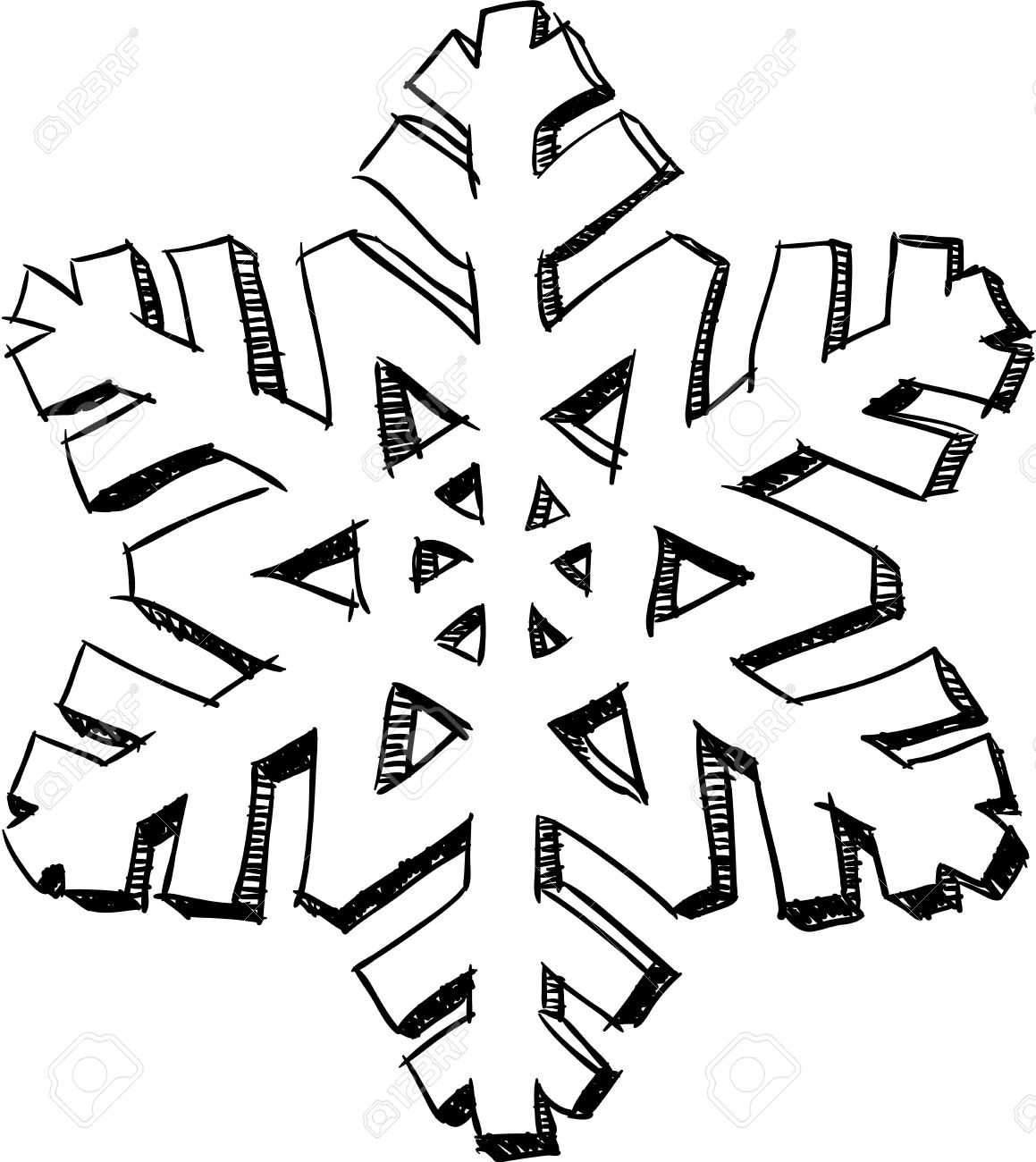 1159x1300 Pencil Drawing Styled Isolated 3d Snowflake Sketch Royalty Free