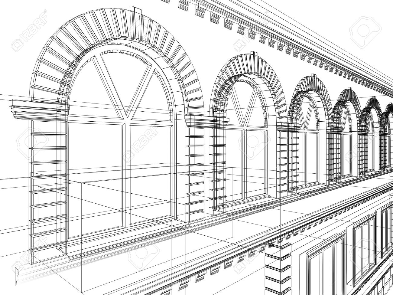 1300x975 Sketch Of House. Architectural 3d Illustration Stock Photo