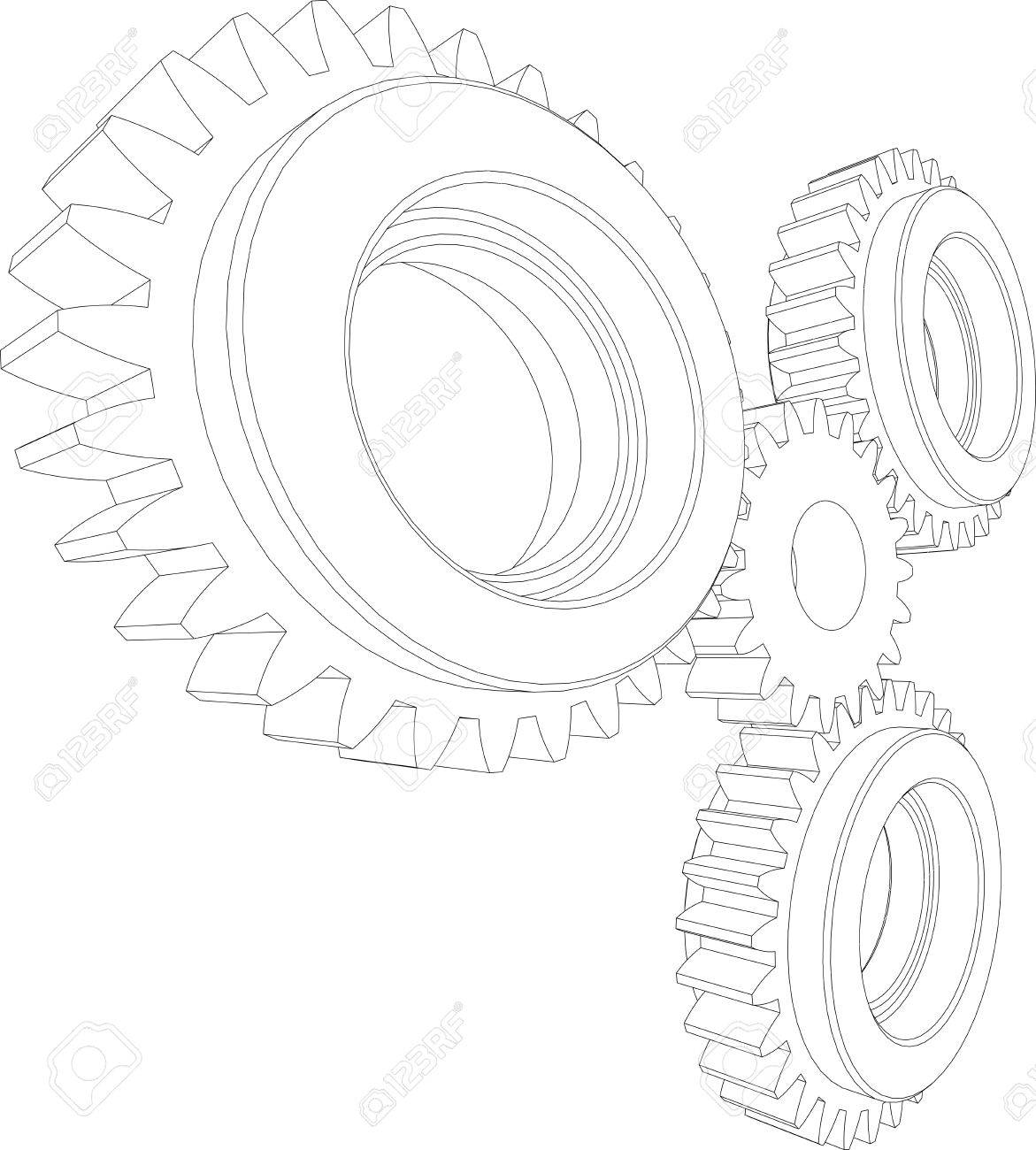 1171x1300 Sketch Of Wire Frame Gears. Perspective View. Teamwork Concept