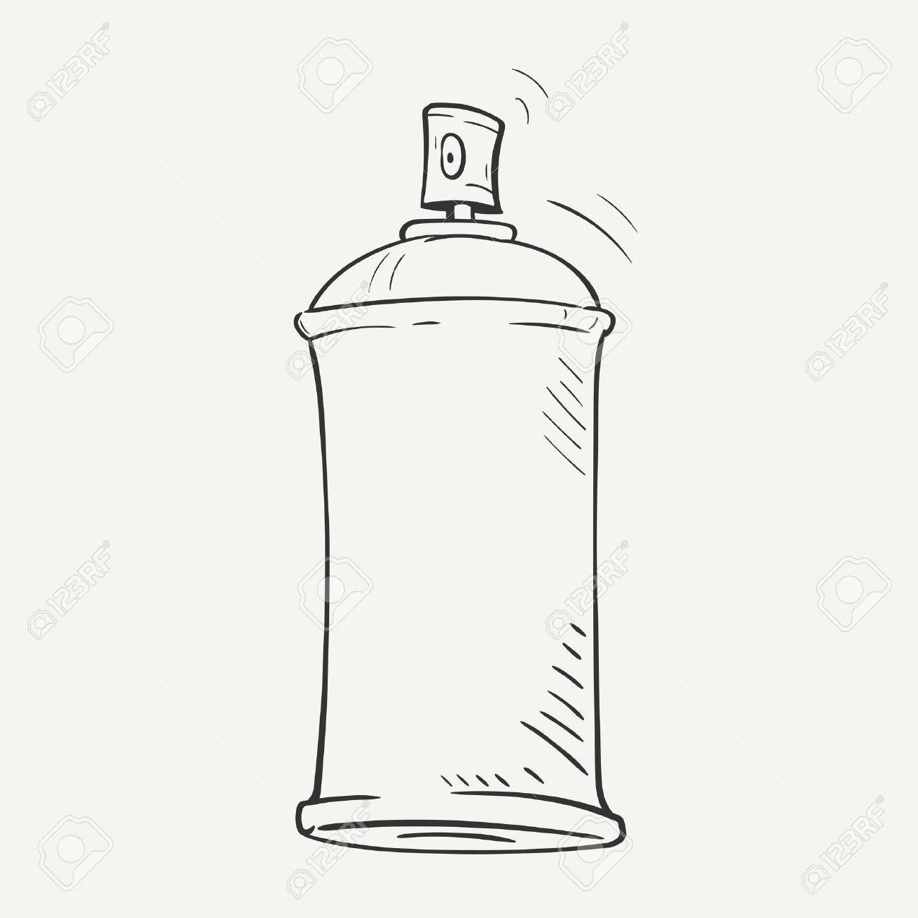 1300x1300 Cartoon Sketch Spray Can On White Background Royalty Free Cliparts