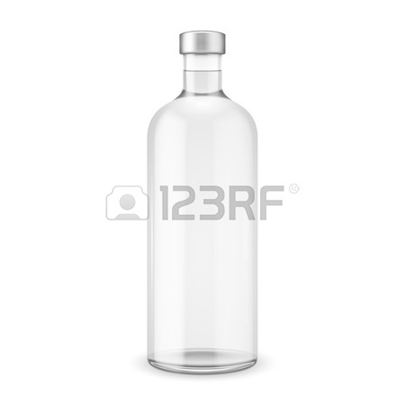 450x450 Glass Vodka Bottle With Silver Cap. Vector Illustration. Glass