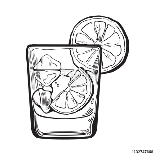 500x500 Glass Of Gin, Vodka, Soda Water With Ice And Lime, Sketch Style