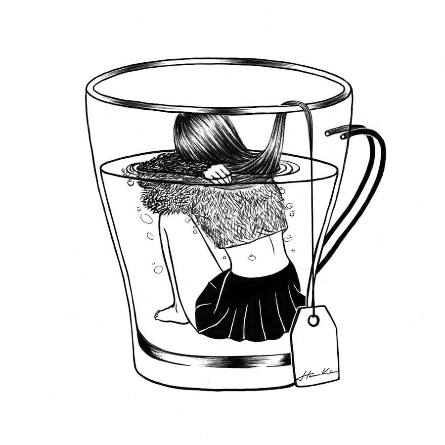 900x900 Amazing Surreal Black Amp White Illustration Of Girls Fubiz Media
