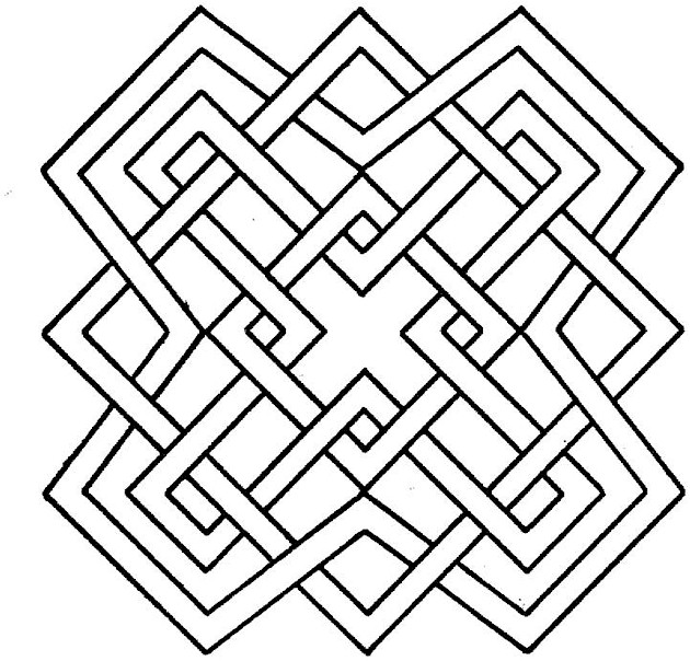 630x604 3d Geometric Design Coloring Pages Color Bros