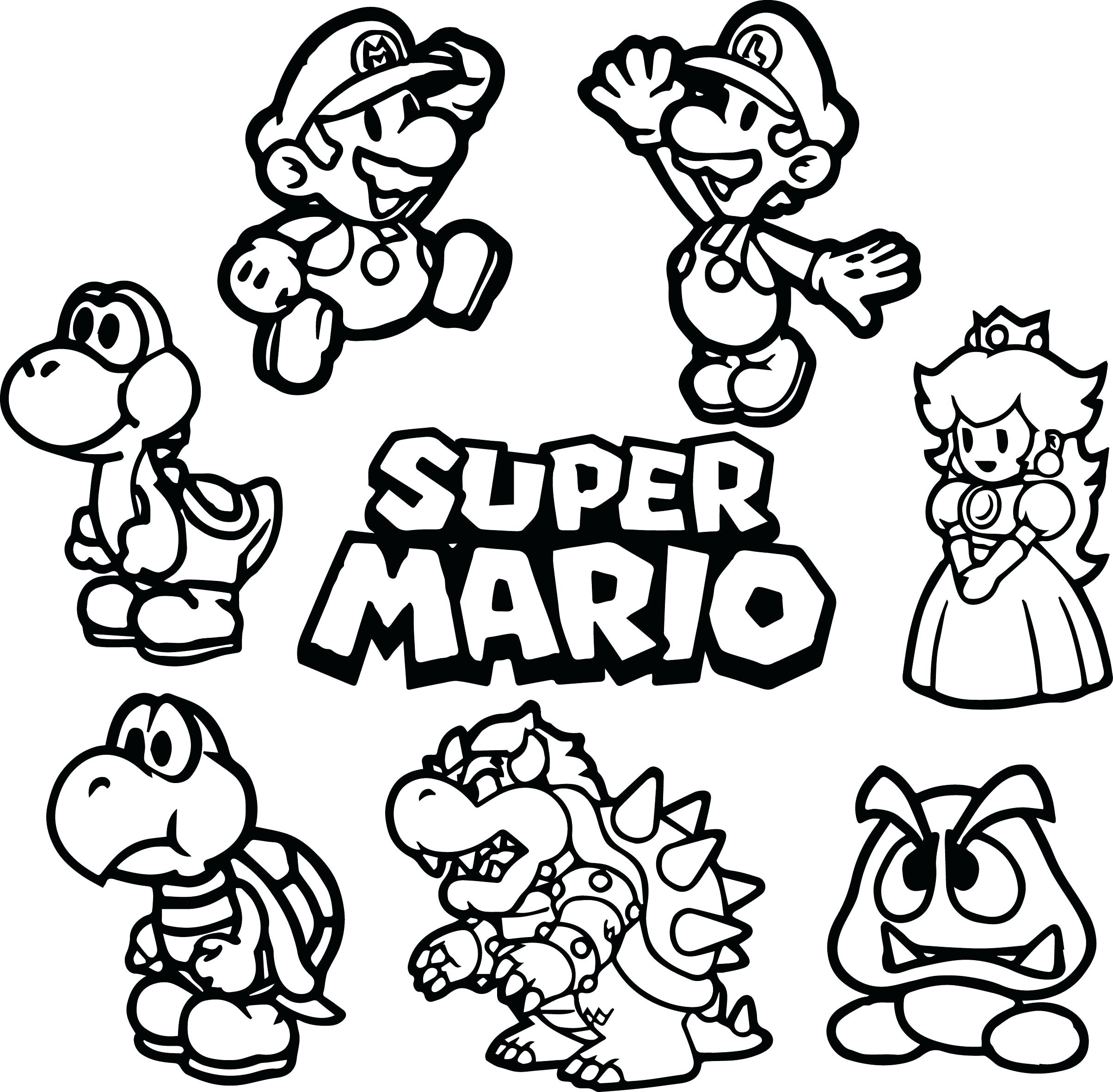 2407x2361 Coloring Super Mario Printable Coloring Pages