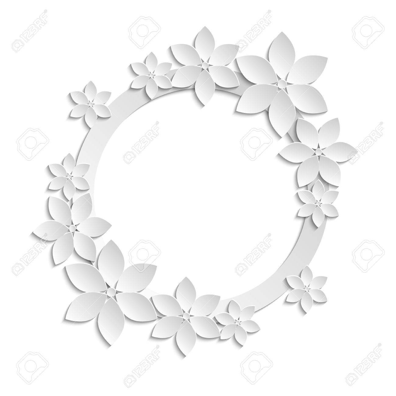 1300x1300 Decorative White Paper Cut Border With White Paper Flowers. 3d