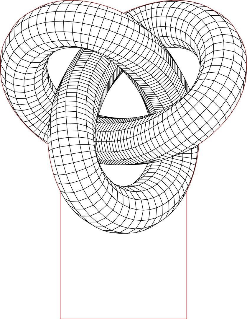 838x1080 Acrile Led Torus Knot 3d Illusion Lamp Vector File Puzzles