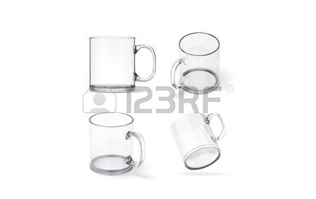 450x284 Blank Transparent Glass Mug Mock Up Set Isolated, 3d Rendering