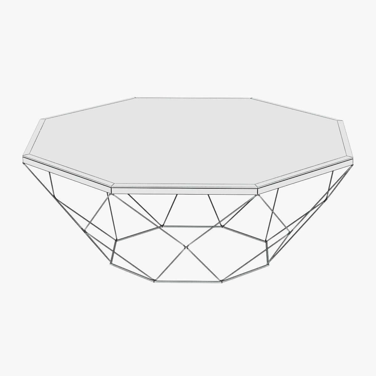 1200x1200 Geometric Antique Brass Coffee Table With Glass Top 3d Model Max