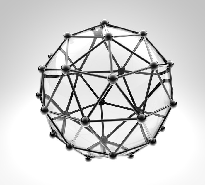 700x630 Scientific 3d Model Of The Molecule, An Atom Of Metal And Glass
