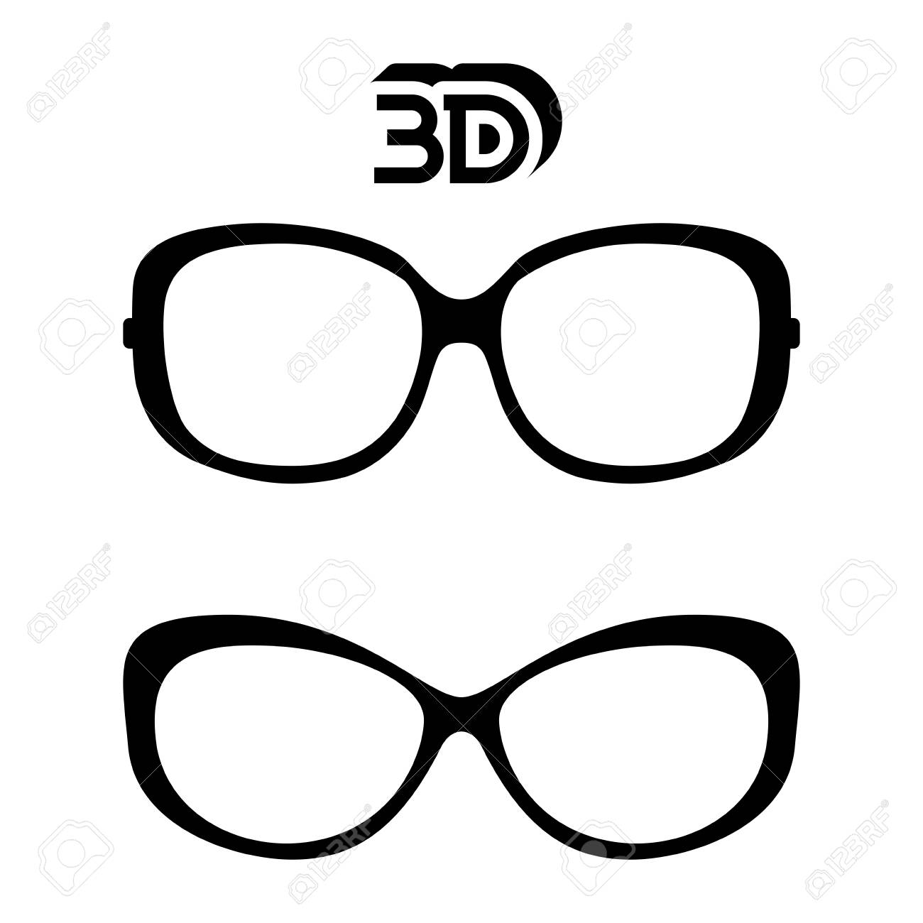 1300x1300 Black And White 3d Glasses Icon Isolated Royalty Free Cliparts