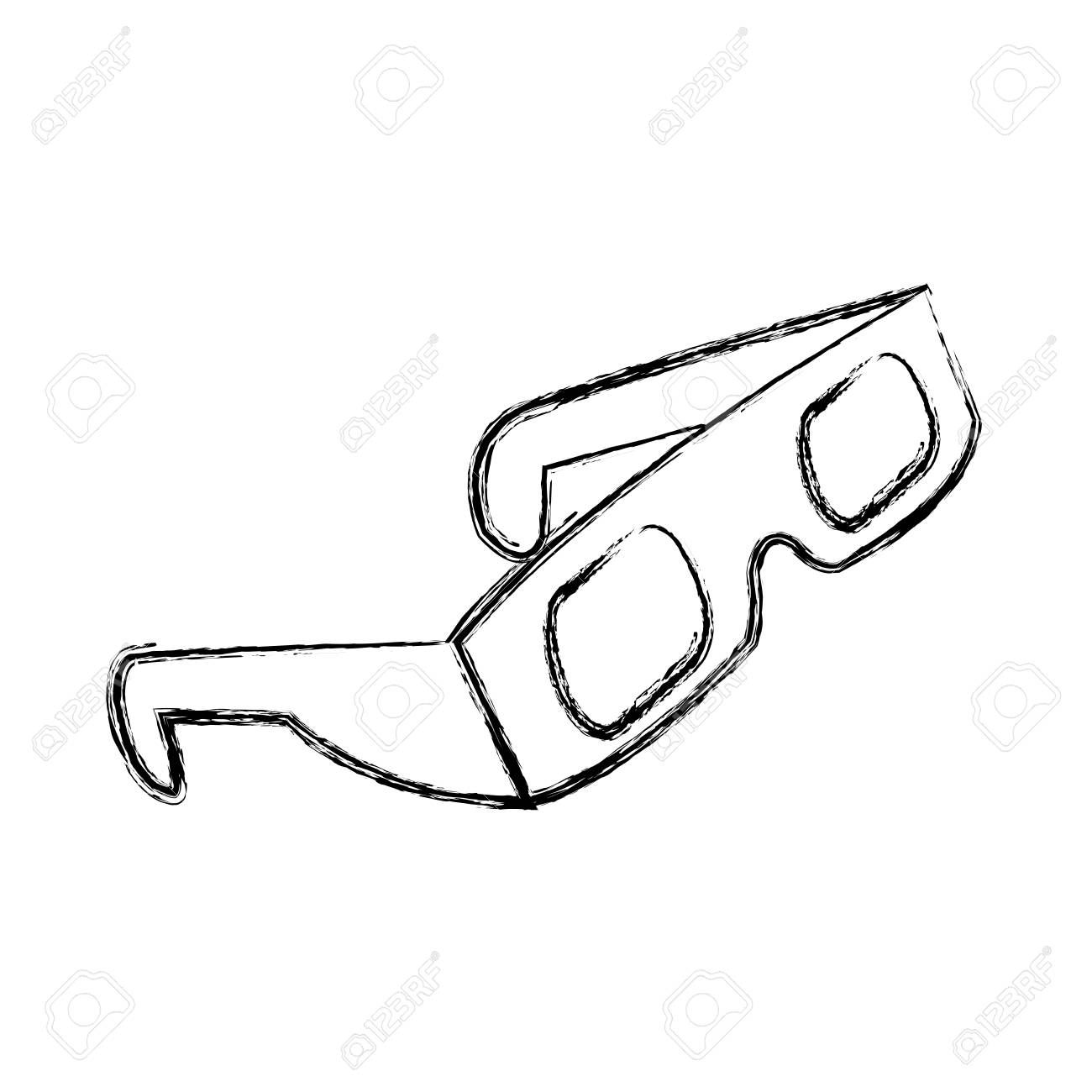 1300x1300 Figure 3d Glasses To See Movie In The Cinema, Vector Illustration