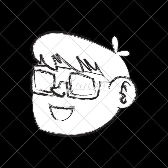 550x550 Figure Nice Boy Face Using 3d Glasses