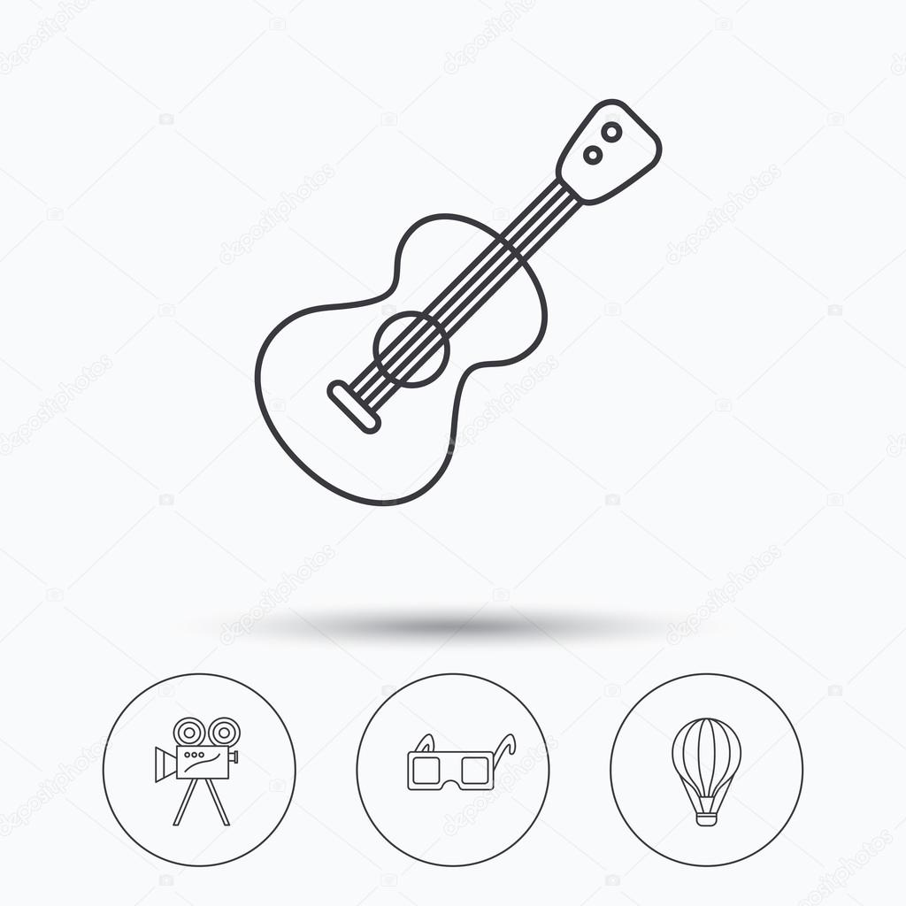1024x1024 Guitar Music, 3d Glasses And Air Balloon Icons. Stock Vector