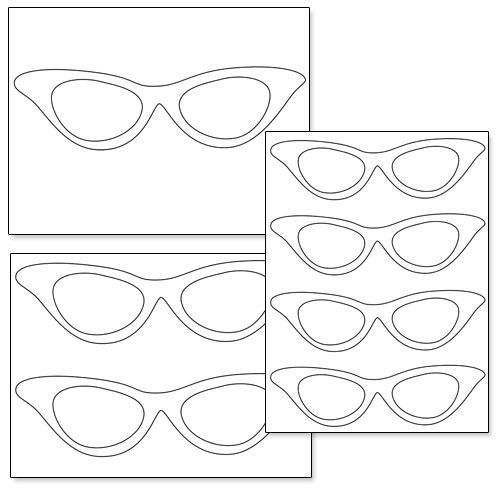 500x500 Printable Cat Eye Glasses From Shapes