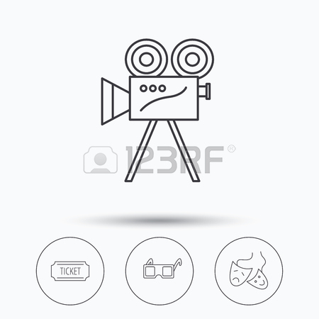 450x450 Ticket, Video Camera And Theater Masks Icons. 3d Glasses Linear