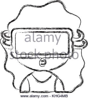 300x340 Figure Girl With 3d Glasses To Virtual Video Game Vector