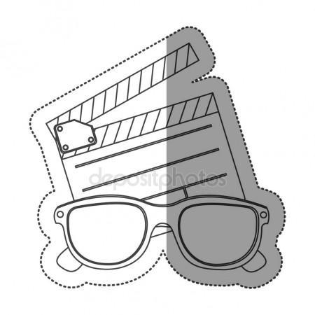 450x450 Monochrome Contour Sticker With Clapper Board And 3d Glasses