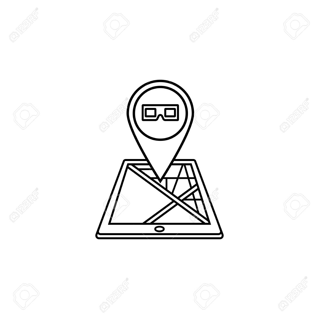 1300x1300 3d Glasses Map Pointer Line Icon, Mobile Gps Royalty Free Cliparts