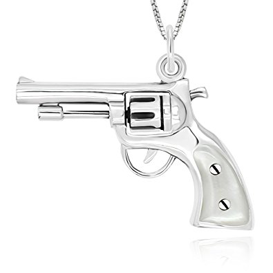 395x395 925 Sterling Silver 3d Pistol Gun Revolver With Mother