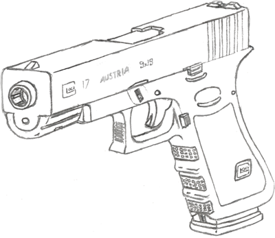 400x347 Glock 17 Drawing By Fewes