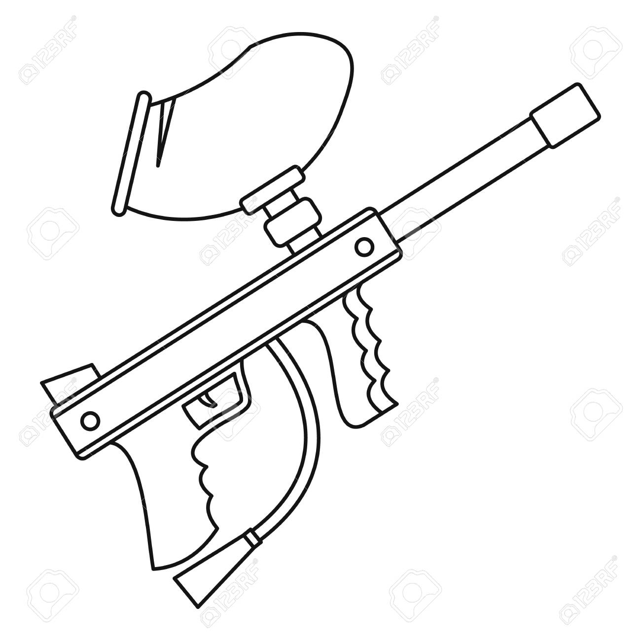 1300x1300 Paintball Gun Icon In Outline Style On A White Background Vector