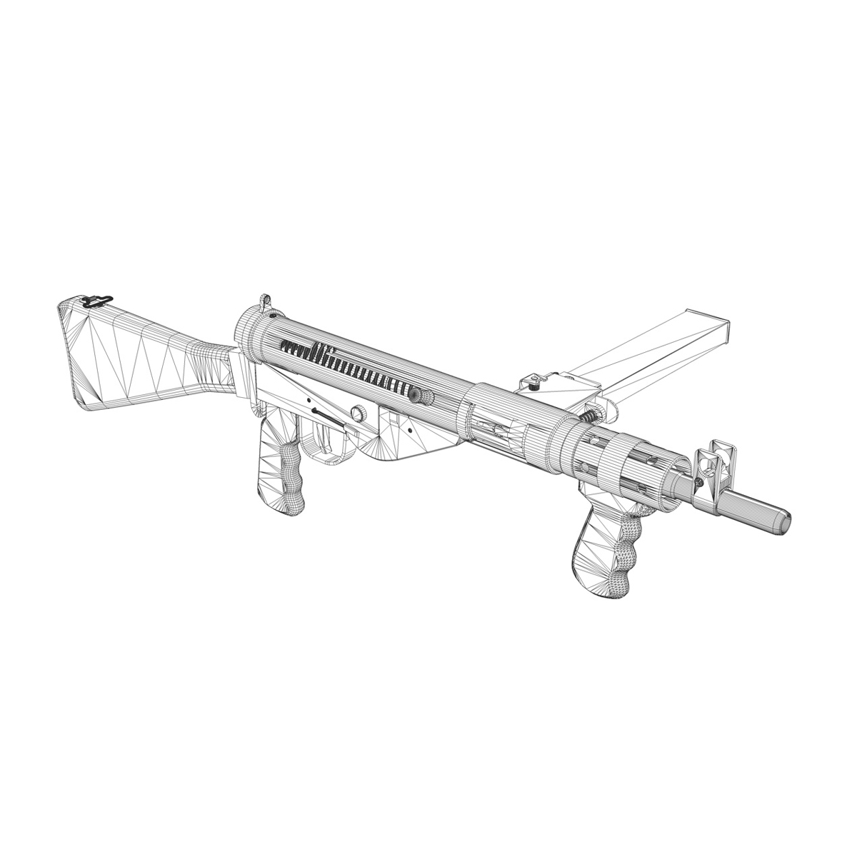 1200x1200 Sten Mk.v Submachine Gun 3d Model Weapons 3d Models Submachine Gun
