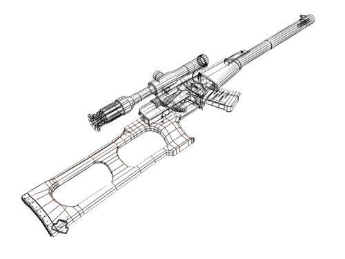 500x375 Vintorez 3d Model In Rifle 3dexport