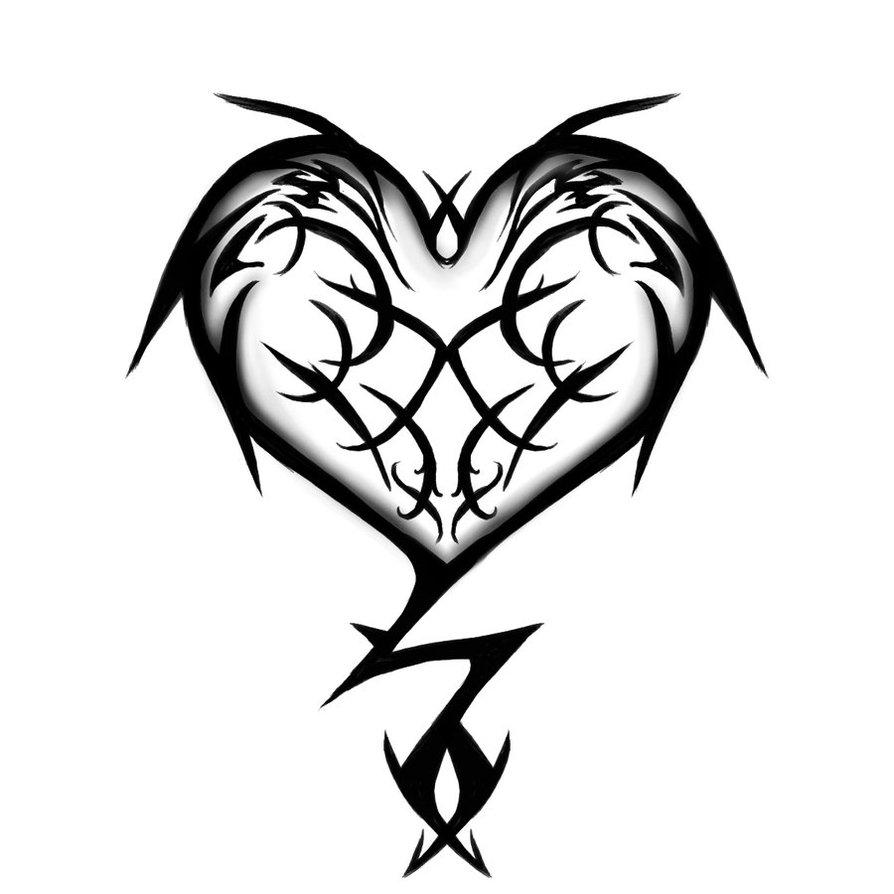 894x894 Tribal Love Heart Tattoos 3d