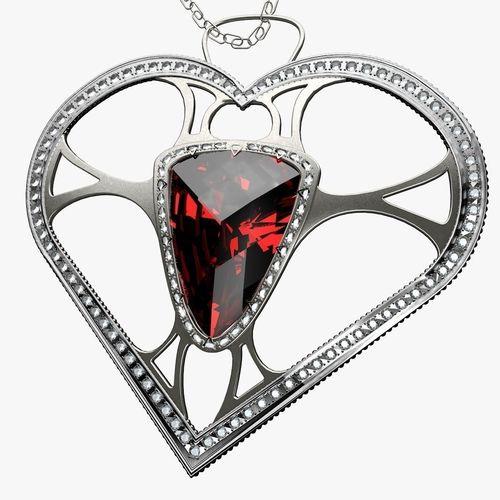 500x500 Pendant Jewel Heart 3d Model Cgtrader