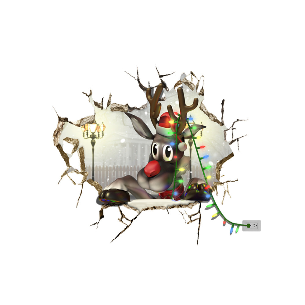 1000x1000 3d Christmas Reindeer Pag Sticker Snow Wall Decals Sticker Home