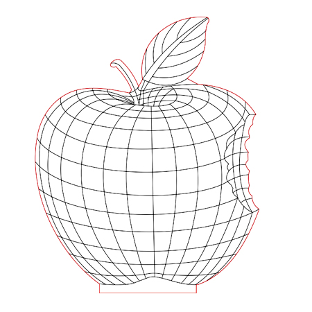 450x450 Apple 3d Illusion Lamp Plan Vector File For Cnc