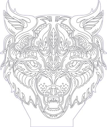 372x441 3d Illusion Wolf Head Premium Vector Drawing