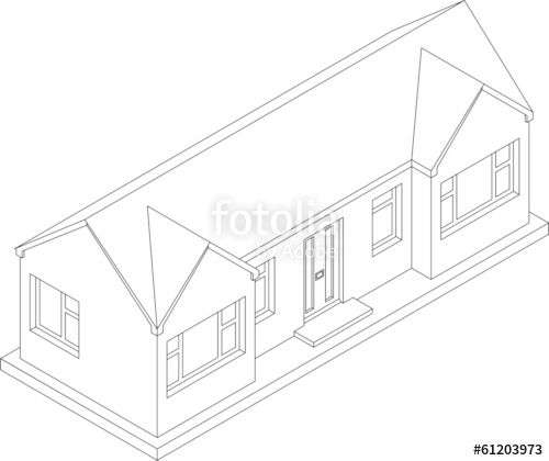 500x420 3d Isometric Line Drawing Of A Single Story House Or Bungalow