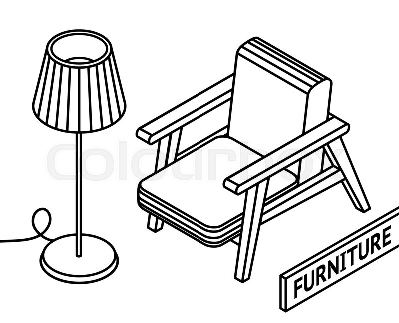 800x647 Isometric Outline Furniture. 3d Line Drawn Isometric Armchair