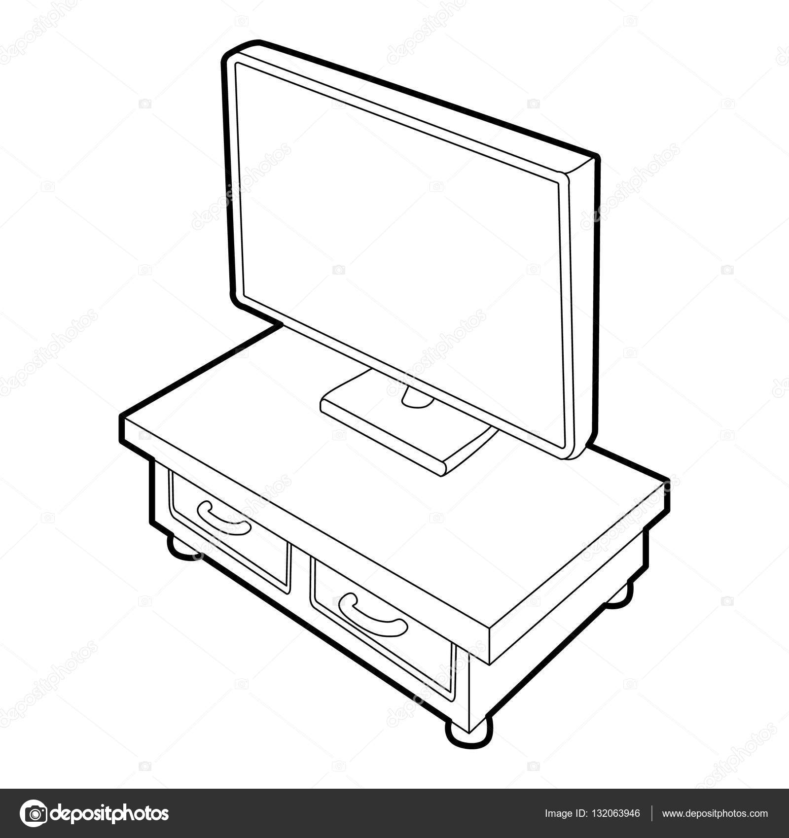 1600x1700 Wooden Tv Cabinet With Tv Icon, Isometric 3d Style Stock Vector