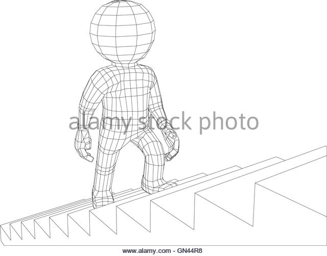640x502 Puppet 3d Man Walking Stairs Stock Photos Amp Puppet 3d Man Walking