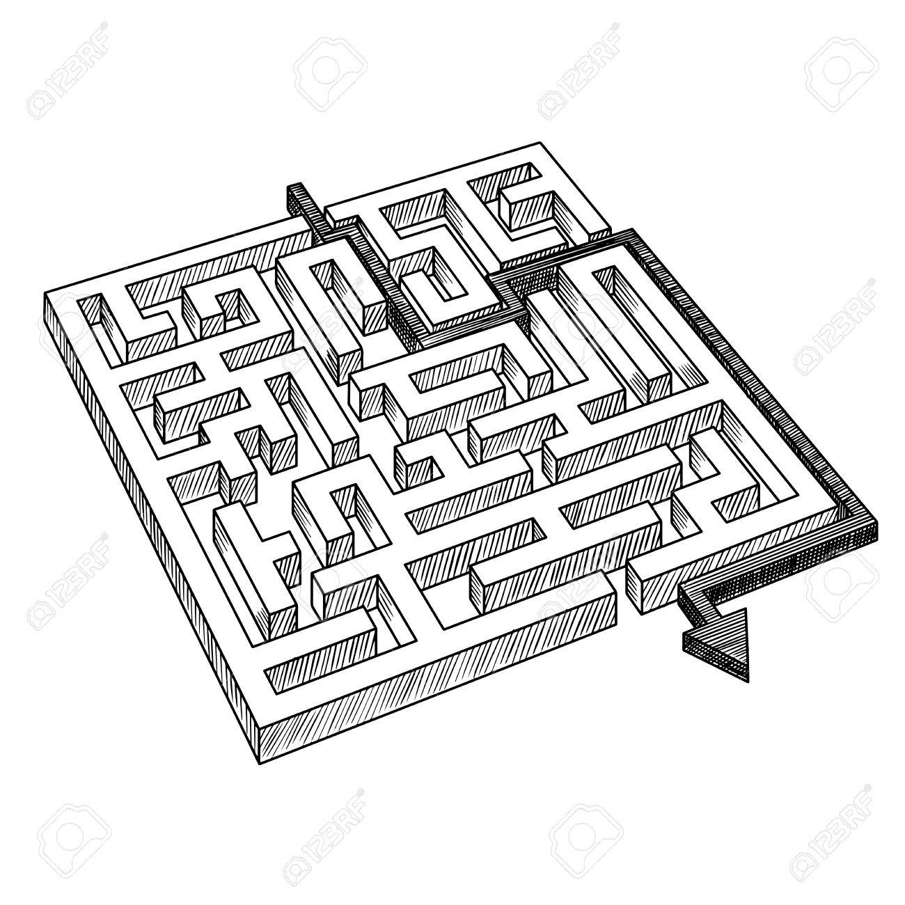 1300x1300 Sketch Of Labyrinth Or Maze, Solved By Arrow, Showing A Workaround