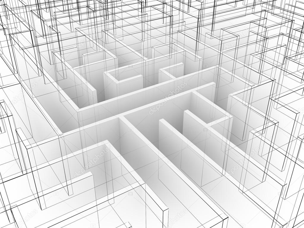 1024x768 Endless Maze 3d Illustration,wire Frame Stock Photo Yaryhee