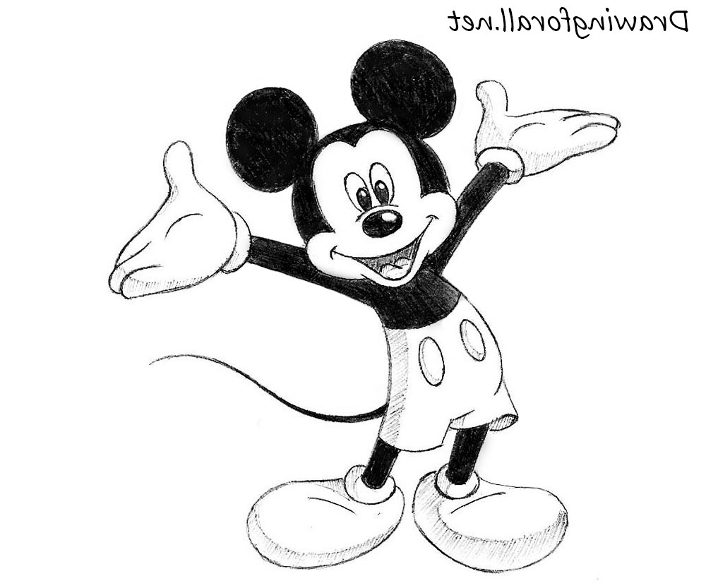 It is an image of Candid Mickey Mouse Pencil Drawing