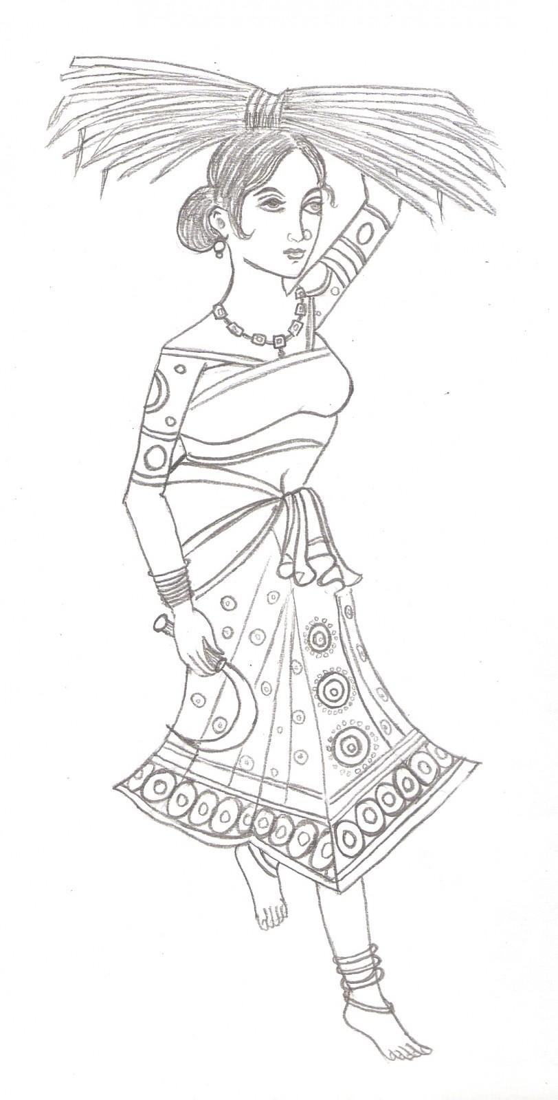 812x1600 Indian Village Pencil Sketch 3d Sketch Of Village Girl
