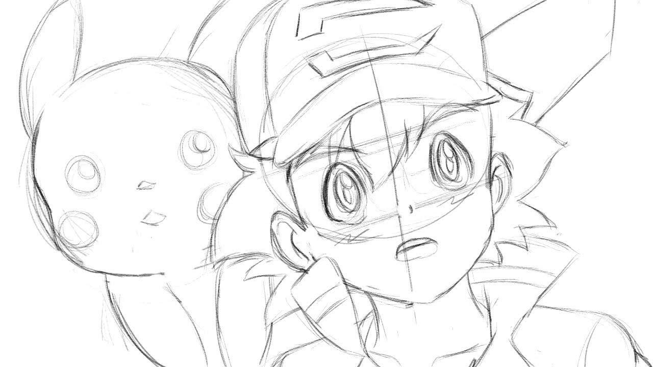 1280x720 Drawing Ash ( Pokemon Movie 2018) Sketch
