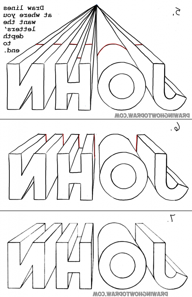 662x1024 Simple Perspective Drawing For Kids How To Draw 3d Letters In One