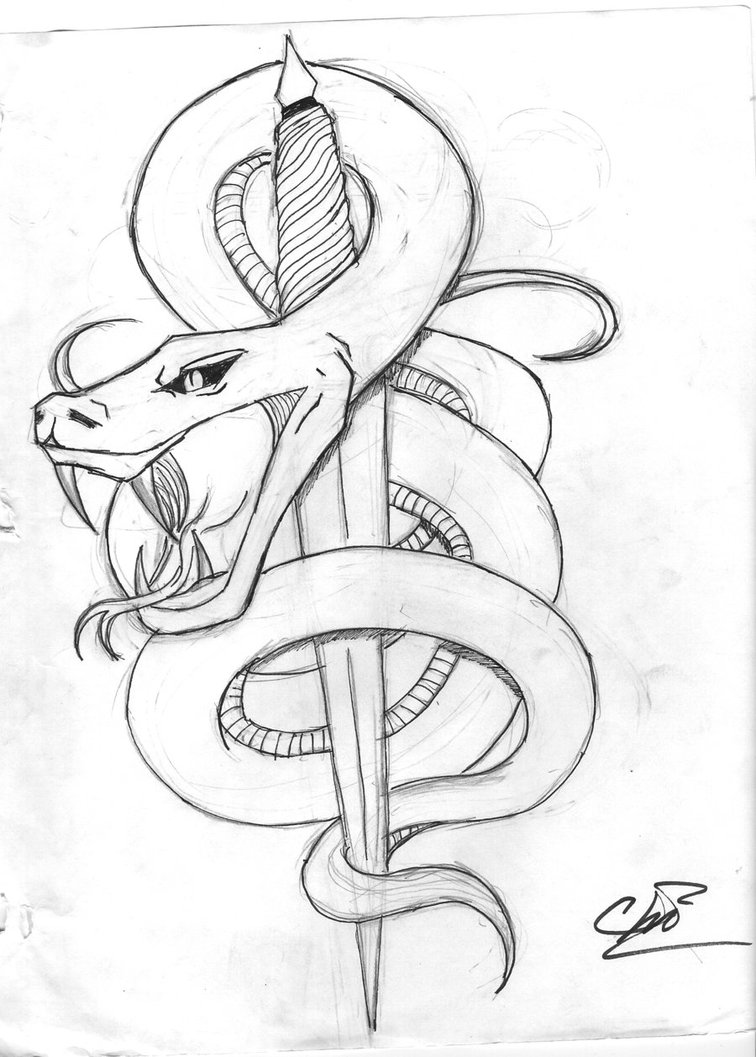 756x1057 Collection Of Snake And Dagger Tattoo Sketch