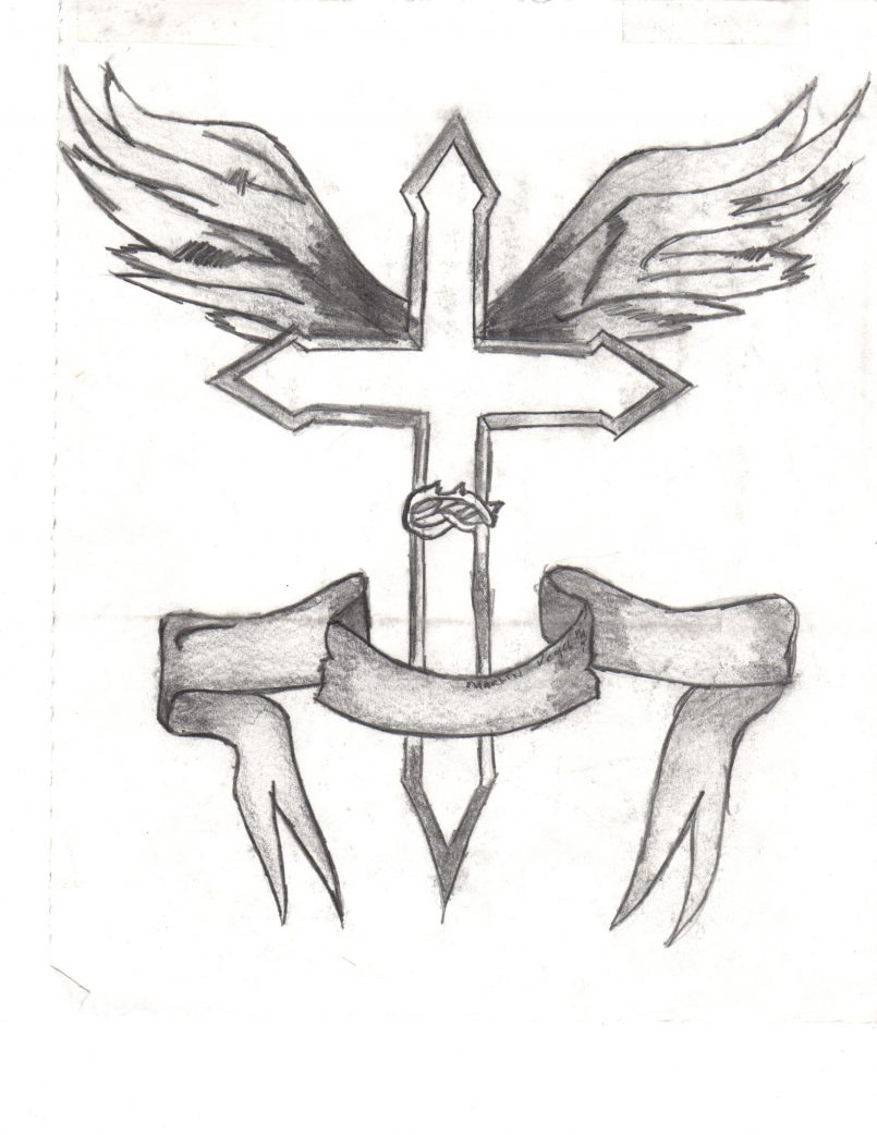 805x1042 Drawing Cool Cross Drawings With Wings Also Cool 3d Cross