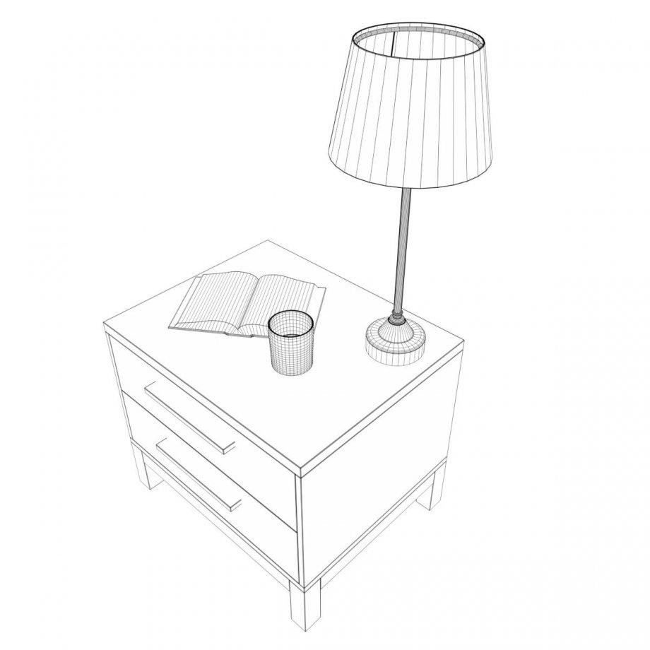 920x920 Bedside Table Set 3 3d Model