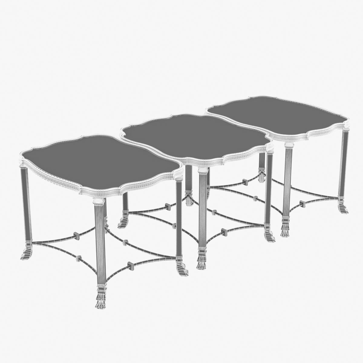 1200x1200 Chidester Table Set 3d Cgtrader